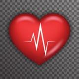 Conception haute de fond de symbole de soins médicaux de soins de santé de Rate Pulse Realistic 3d de battement de coeur d'icône  Photo libre de droits