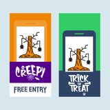 Conception heureuse d'invitation de Halloween avec le vecteur d'arbre et de batte illustration libre de droits