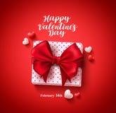 Conception heureuse de bannière de vecteur de carte de voeux des textes de jour de valentines avec le cadeau d'amour Photos stock