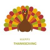 Conception heureuse de célébration de thanksgiving avec du Bi de dinde de bande dessinée illustration de vecteur