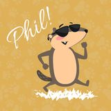 Conception heureuse de jour de Groundhog avec la marmotte mignonne en parc de marche de lunettes de soleil sous le soleil, prévis Image stock