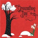 Conception heureuse de jour de Groundhog avec le nuage sur le perce-neige d'arbre et de fleurs, prévision de vecteur de temps, de Photo libre de droits