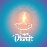 Conception heureuse de lampe à pétrole de diya de diwali Photographie stock