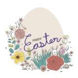 Conception heureuse de Pâques des fleurs et du lapin dans le jardin Images stock
