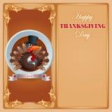 Conception heureuse de thanksgiving avec la dinde de bande dessinée Images stock