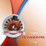 Conception heureuse de thanksgiving avec la dinde de bande dessinée Photo libre de droits