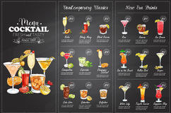 Conception horisontal de menu de cocktail de Front Drawing Images libres de droits
