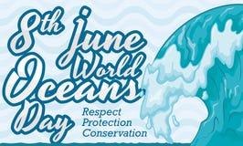 Conception impressionnante de vague pour la célébration de jour d'océans du monde, illustration de vecteur illustration libre de droits