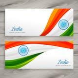 Conception indienne de vecteur de carte de bannière de drapeau Photos libres de droits