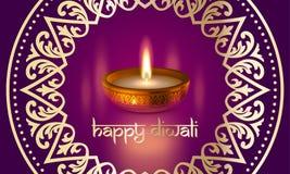 Conception indienne de vecteur de carte de voeux de festival de Diwali d'or de lumière heureuse de bougie Image libre de droits