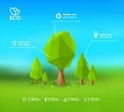 Conception infographic moderne avec lowpoly l'illustration courante de l'arbre ENV 10 Images libres de droits