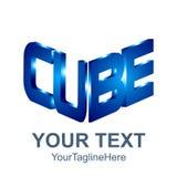 Conception initiale de mot de cube en calibre 3D de logo de cube en mot pour des affaires illustration libre de droits