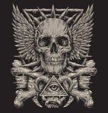 Conception inspirée de métaux lourds de crâne illustration libre de droits