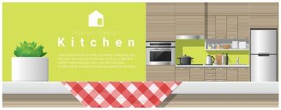 Conception intérieure avec le dessus de table et le fond moderne de cuisine illustration de vecteur
