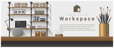 Conception intérieure avec le dessus de table et le fond moderne de lieu de travail de bureau illustration libre de droits