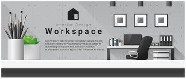 Conception intérieure avec le dessus de table et le fond moderne de lieu de travail de bureau illustration de vecteur