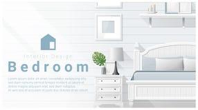 Conception intérieure avec le fond moderne de chambre à coucher, vecteur illustration de vecteur