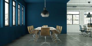 Conception intérieure bleue moderne de salle de conférence rendu 3d illustration de vecteur