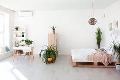 Conception intérieure confortable de studio moderne dans le style scandinave Une salle énorme spacieuse en couleurs les couleurs  image libre de droits