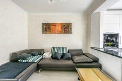 Conception intérieure d'appartement blanc courant de photo Photographie stock libre de droits