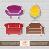 Conception intérieure d'icônes de fauteuil de grenier Photo stock