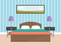 Conception intérieure d'intérieur pour la chambre à coucher moderne - vecteur plat Image stock