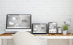 conception intérieure de bureau à plusieurs dispositifs illustration libre de droits