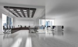 Conception intérieure de bureau dans la couleur de whire et rayons de lumière de victoire Images stock