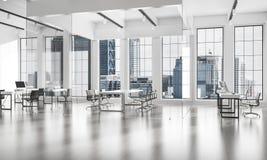 Conception intérieure de bureau dans la couleur de whire et rayons de lumière de victoire Photo libre de droits
