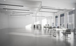 Conception intérieure de bureau dans la couleur de whire et rayons de lumière de victoire Photos libres de droits