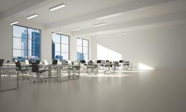 Conception intérieure de bureau dans la couleur de whire et rayons de lumière de fenêtre Photos libres de droits