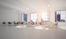 Conception intérieure de bureau dans la couleur de whire et rayons de lumière de fenêtre Photos stock
