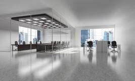 Conception intérieure de bureau dans la couleur de whire et rayons de lumière de victoire Photographie stock libre de droits