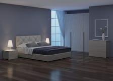 Conception intérieure de chambre à coucher Éclairage de nuit illustration libre de droits