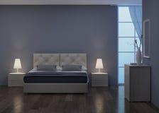 Conception intérieure de chambre à coucher Éclairage de nuit illustration de vecteur