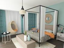 Conception intérieure de chambre à coucher éclectique moderne Photos stock