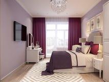 Conception intérieure de chambre à coucher aux nuances du lilas Photo libre de droits