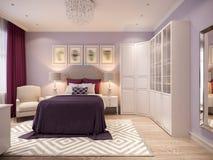 Conception intérieure de chambre à coucher aux nuances du lilas Images libres de droits