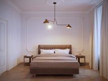 Conception intérieure de chambre à coucher moderne lumineuse et confortable avec les murs blancs, Image libre de droits