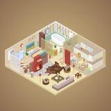 Conception intérieure de Chambre rurale avec le salon, la chambre à coucher et la cuisine Illustration plate isométrique Image libre de droits