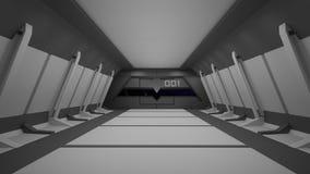 Conception intérieure de couloir de la science fiction rendu 3d Images stock