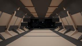 Conception intérieure de couloir de la science fiction rendu 3d Image stock