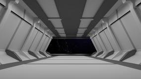 Conception intérieure de couloir de la science fiction rendu 3d Photo libre de droits