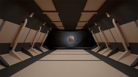Conception intérieure de couloir de la science fiction rendu 3d Photos stock