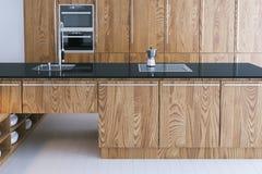 Conception intérieure de cuisine de pointe Le plan rapproché 3d rendent Photographie stock