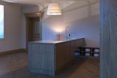 Conception intérieure de cuisine en bois classique 3d rendent Images libres de droits