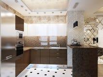Conception intérieure de cuisine moderne élégante et luxueuse Photographie stock libre de droits