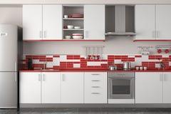 Conception intérieure de cuisine rouge moderne Photographie stock libre de droits