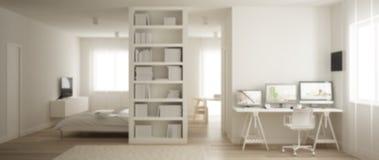 Conception intérieure de fond de tache floue, un appartement de pièce avec le plancher de parquet, lieu de travail à la maison av illustration libre de droits