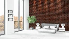 Conception intérieure de grenier style minimal blanc de tout neuf de chambre à coucher avec le mur de copyspace et vue hors de fe Image stock